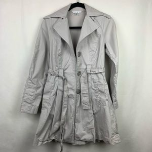 CABI Gray Snap Belted Pleated Trench Coat Size XS
